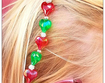 Rockin Aid Retainers: Christmas Love made with Acrylic and Silver Plated Beads!  Please select quantity 2 for a pair!
