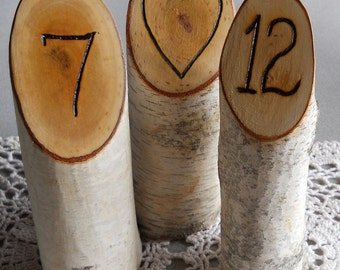 Rustic Natural Wedding Birch Hand Engraved Initials, Table Numbers, Wedding Date, and more of Birch Branches for Weddings, Holiday Parties