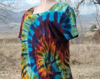 Tie Dye Rainbow Cotton Tee Shirt Large