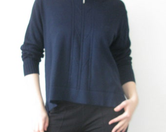 Knitted Navy blue Sweater with Zip Neck