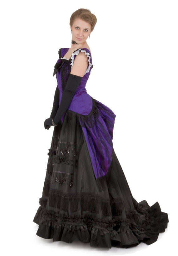 Steampunk Wedding Dresses | Vintage, Victorian, Black 1870 Isadore Victorian Bustle Dress $375.00 AT vintagedancer.com