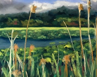 Dramatic Sky over Marsh Grasses Original Pastel Painting by Wendy Johnston
