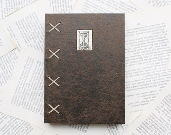 Large Hardcover Journal with Reindeer Leather Spine and Vintage Hourglass Illustration