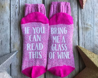 WINE SOCKS, If You Can Read This Bring Me A Glass of Wine Socks, Ladies Size 9-11, Boot Socks, Pink and White Marbled Socks, Custom Socks
