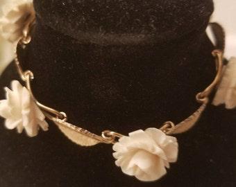 Krementz Gold filled Carved Rose Bracelet. GF Bracelet, Vintage Bracelt Gift for Mom, Wedding