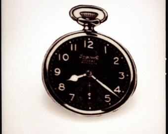Black Watch Pocket Watch Brooch - Black and White Illustration Pin