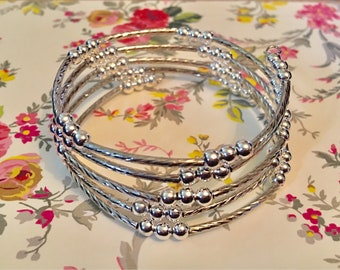 Silver plated bead memory wire wrap bracelet
