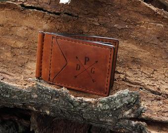 Husband Birthday Gifts, Leather Minimalist Wallet, Custom Gift for Boyfriend, Money Clip Wallet, Fathers Day Gift from Daughter, Money Clip