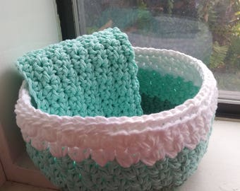 Nesting Bowls, Catch All Bowl, Crochet bowls, Storage, Green Ombre Bowl,