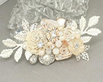 Blush Hair Accessory- Bridal Hair Comb- Blush Bridal Comb- Bridal Hair Accessory- Wedding Hairpiece- Blush Bridal Hairpiece- Brass Boheme