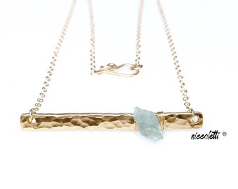 Raw Aquamarine Bar Necklace / 14k Gold Bar Necklace / March Birhstone Gift for Her / Mom Jewelry / Mothers Day Gift / Birthstone Necklace