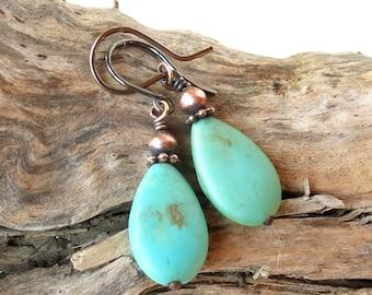 Turquoise dangle earrings - stone & copper teardrops