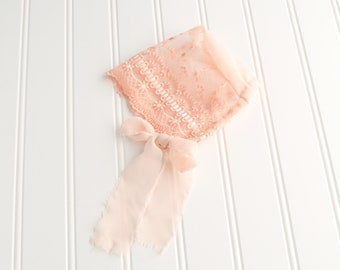 Dainty in Peach - newborn baby bonnet in a peach floral embroidered lace with ivory and peach chiffon ties  (RTS)