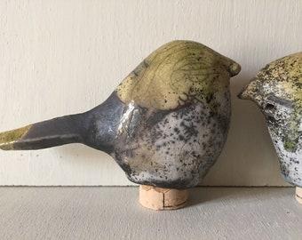 2 Raku birds for salt and pepper