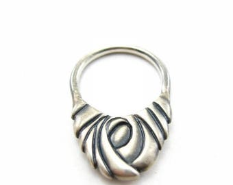 Sample Sale Swirling Vortex silver statement ring | recycled silver ring | eco friendly ring | oxidized silver ring | edgy silver ring