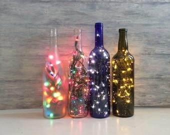 Wine Bottle Decor, Lights Inside Wine Bottle