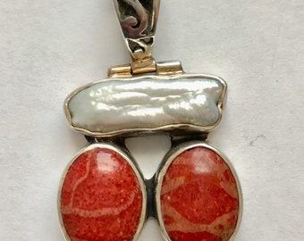 Vintage Sterling Silver Red Jasper and Natural Pearl Pendant