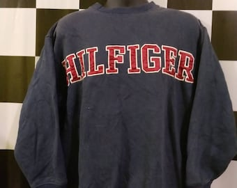 Vintage TOMMY Hilfiger sweatshirt Big Letter Logo spell Out Taiwan M
