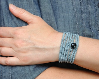 Gray bracelet Wrap Crochet bracelet gift ideas Casual bracelet Friendship bracelets for women Crochet Wrap bracelet Everyday yarn bracelet