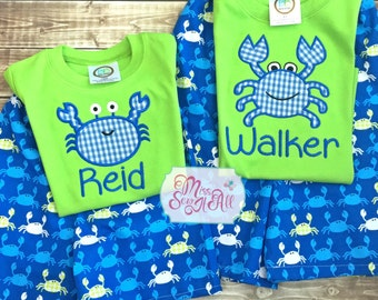 Boys Crab Set, Crab Shorts Set, Boys Crab Shirt, Boys Crab Shorts, Summer Crab Outfit, Boys Summer Crab Outfit, Crab Shorts, Crab Shirt