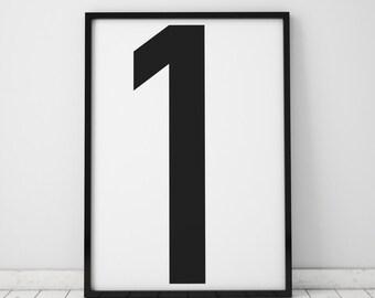 Number 1 Print, Number Wall Art, Scandinavian Art, Scandinavian Poster, number 1 Poster, Number 1 Print, INSTANT DOWNLOAD