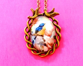 Bluebird Bird on a Branch Songbird Rose Blossom Pendant Necklace
