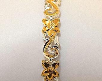 Hawaiian Heirloom Bracelet, Plumeria Bracelet, Sterling Silver & Yellow Gold Plated Plumeria Maile Leaf Bracelet, B3124 Birthday Mom Gift