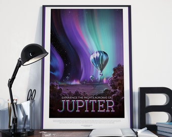 SPACE TRAVEL POSTER - Jupiter Art Print, Space Exploration Poster, Retro Futuristic Look