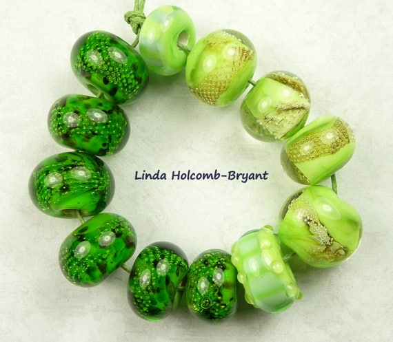 Lampwork Glass Bead Set of Mixed Multicolored Green Beads- set of 12