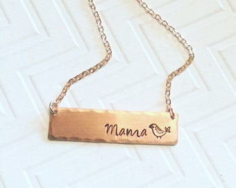Mama Bird Necklace - Hand Stamped Necklace - Gift For Mom - Gift For Her - Copper Rose Gold Bar Necklace - Script Font