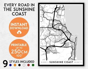 Sunshine Coast map print, Printable Sunshine Coast map art, Sunshine Coast print, Australia map, Queensland map print, Sunshine Coast poster