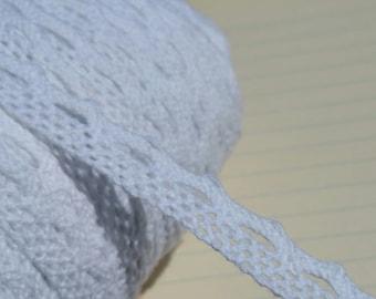 "White Cluny Lace - Narrow Bright White Cluny Crochet Torchon Trim - 1/2"" Wide"