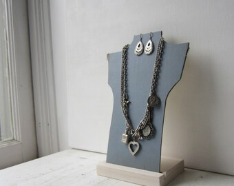 Necklace Bust Reversible - Light Blue / Cream - Recycled Book Necklace Jewelry Display - Necklace Holder - Retail Display - Boutique Display