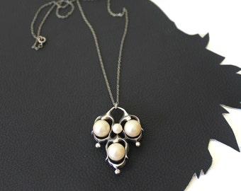 Tortolani Crislu Faux Pearl & Silver Necklace