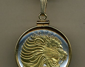 "Necklace - Gorgeous 2-Toned ""Gold on Silver"" Ethiopia  ""Lion"",  Coin Necklaces"
