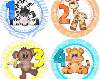 Monthly Jungle Stickers set Baby Shower gift 1- 12 Months Precut Infant Month stickers Baby monthly stickers Baby Boy Safari decals Onepiece