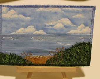 Postcard, Thread Painted Artwork, Fabric, Cotton, Thread, Postcard backing, Collectors art, Can be Framed.Seascape..