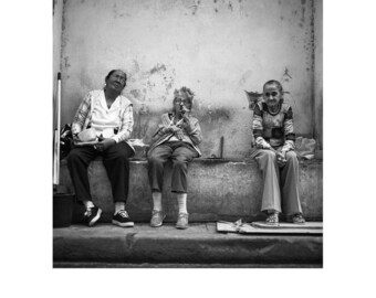 Three Old Ladies, Havana, Cuba, Signed Art Print / Black and White Photography / Cuban Photo