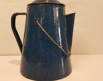 Blue granite ware kettle