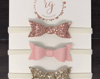 Rose Gold/Pink Faux Leather/Gold Bow/ Leather Bows/Felt Bow/ Rosegold Headbands 3 Pack
