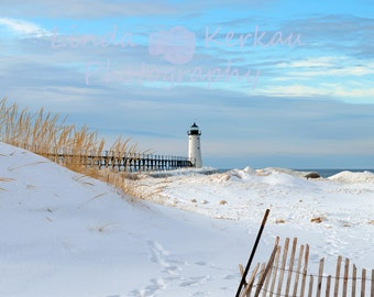 Winter photograph of Manistee Lighthouse