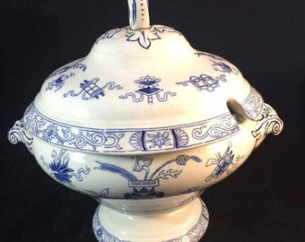 Antique Blue And White Transferware Tureen From Holland