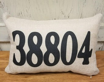 Zip Code Pillow - 12x18 - Pillow or Pillowcase