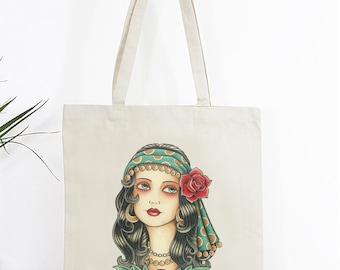 Old School Tattoo Tote Bag, Gypsy woman, Cotton Tote Bag, Pinup Tote Bag, Vintage Tattoo Tote, Gifts for Her, Tattoo bag, Canvas tote bag