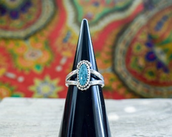 Turquoise Double Band Ring | Handmade Native Style Boho Ring | One of a Kind | Ring Size P | Sterling Silver Hammered and Beaded Detailing