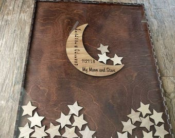 Moon and Star Guest Book Wedding Guest Book Alternative Painted