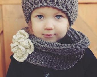 Crochet SCARF/HAT PATTERN: Crochet Beret, Crochet Infinity Scarf, Crochet flower, Sizing Toddler - Women
