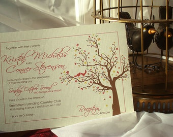 Autumn Love Birds II Branches and Leaves Wedding Invitation Set with Rsvp Postcard Attached... Sample