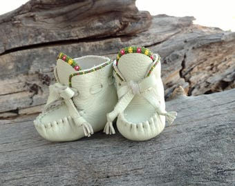 Baby Beaded Moccasins By Desi, Pale Mint Green Deerskin Leather, Girl, Boho, Flowers, Hippie, Soft Soled Booties, Tribal, Aztec, Pink Yellow