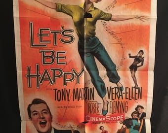 Original 1957 Let's Be Happy One Sheet Movie Poster, Tony Martin, Vera-Ellen, Rock & Roll